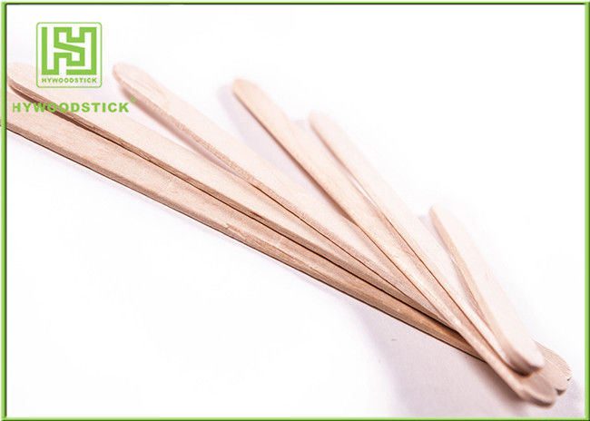 Natural Color Long Ice Cream Wooden Sticks With 114mm Length Flat Edge
