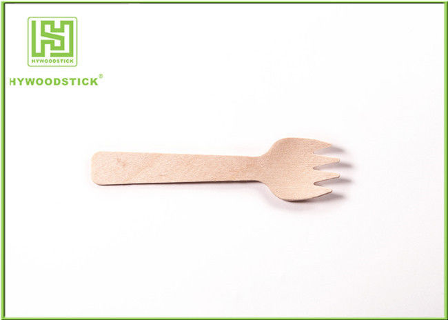 Eco Friendly Disposable Utensils Natural Small Wooden Forks 140mm For Bread / Meat