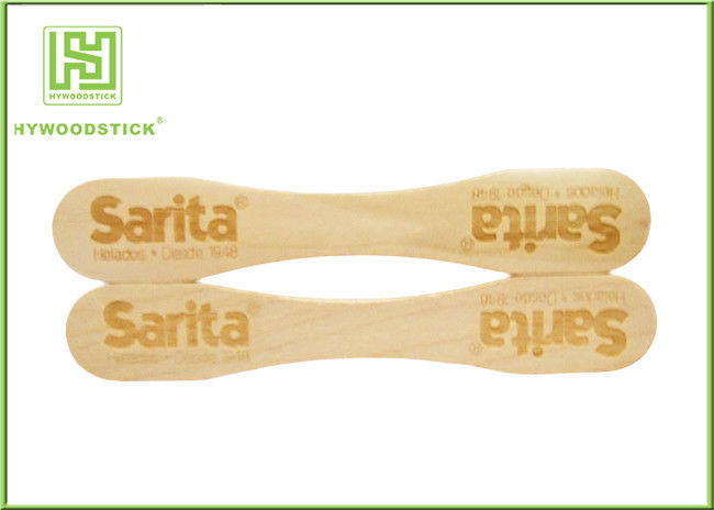 Natural Wood Sticks Disposable Ice Cream Spoons With Logo Engraved